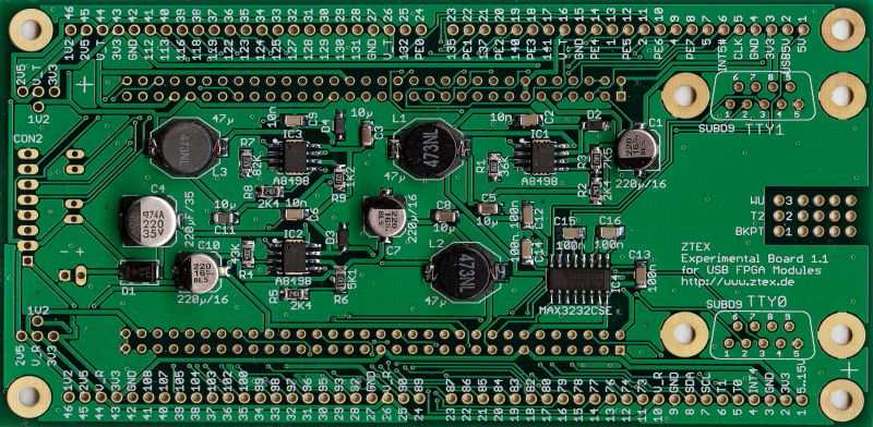 Development Board / Experimental Board 1.1 for USB-FPGA Boards (bottom side)