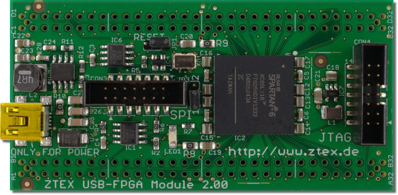 Top side of the ZTEX FPGA Board with Spartan 6 XC6SLX16 FPGA