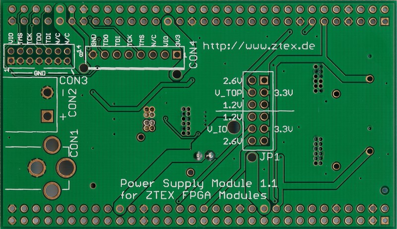 Bottom side of Power Supply 1.1 for USB-FPGA Boards