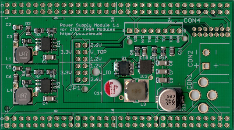 Top side of Power Supply 1.1 for USB-FPGA Boards