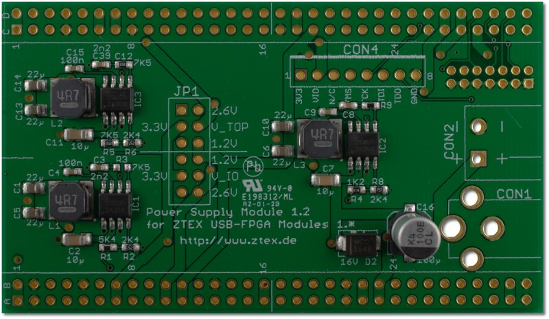 Top side of Power Supply 1.2 for USB-FPGA Boards