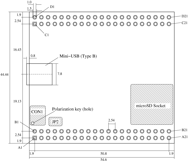 Technical drawing of the USB Module 1.0
