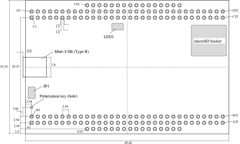 Technical drawing of the Spartan 6 USB-FPGA Module 1.11