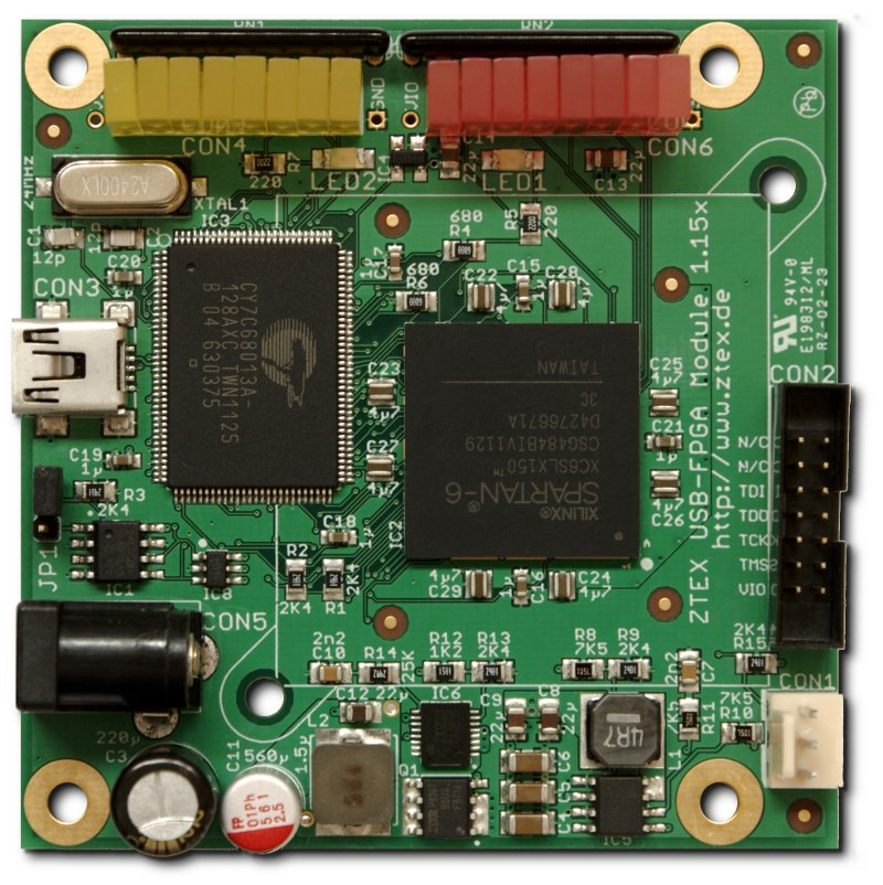 Spartan 6 XC6SLX150 USB-FPGA Module 1.15x with installed Debug Kit