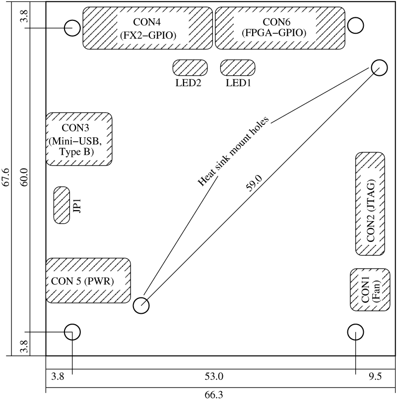 Technical drawing of the Spartan 6 LX150 USB-FPGA Board 1.15x for FPGA clusters and cryptographic calculations