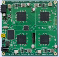 FPGA Board with four Spartan 6 LX150 for cryptographic computations and FPGA clusters
