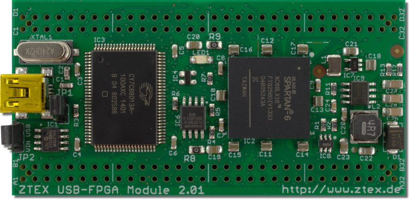 Top side of the ZTEX FPGA Board with Spartan 6 XC6SLX16 FPGA and USB 2.0