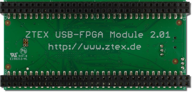 Bottom side of the ZTEX FPGA Board with Spartan 6 XC6SLX16 FPGA and USB 2.0