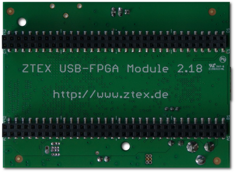 Bottom side of the ZTEX FPGA Board with Artix 7 XC7A200T and USB 2.0
