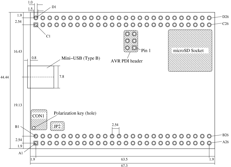 Technical drawing of the USB-XMEGA Module 1.0
